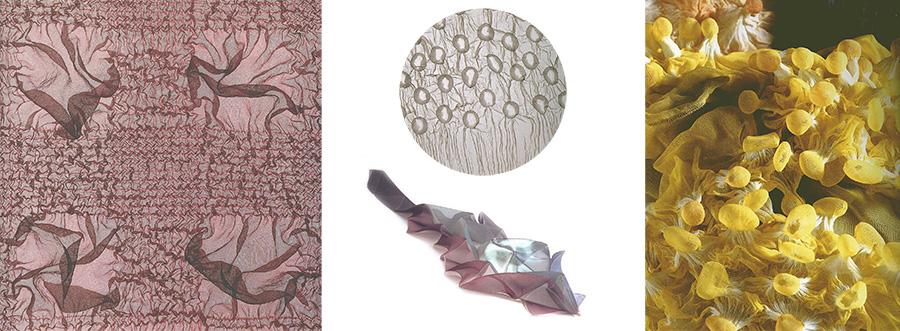 db3fcf506ab Очень интересной трёхмерной тканью представляется работа Йошихиро Камура  «Педокал». Здесь использована техника флок – нанесение на основную ткань  ворсового ...